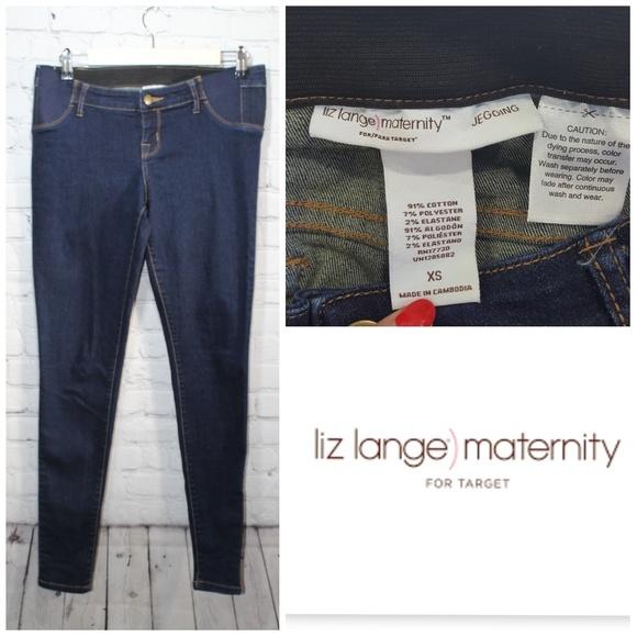 Liz Lange for Target Denim - Liz Lange maternity  dark blue denim leggings XS